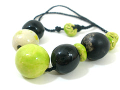 Black and green beaded ceramic jewelry - Ceramics By Orly  - 2