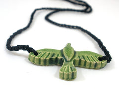 Black and green ceramic bird necklace - Ceramics By Orly  - 4