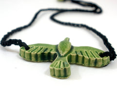 Black and green ceramic bird necklace - Ceramics By Orly  - 3