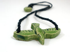 Black and green ceramic bird necklace - Ceramics By Orly  - 2