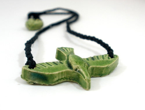 Black and green ceramic bird necklace