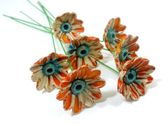 Orange and turquoise ceramic flowers - Ceramics By Orly  - 4