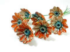 Orange and turquoise ceramic flowers - Ceramics By Orly  - 3
