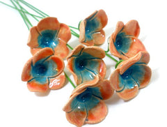 Tangerine and turquoise ceramic flowers - Ceramics By Orly  - 1