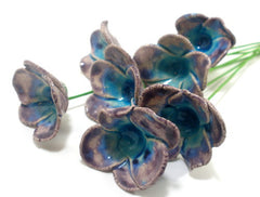 Purple and turquoise ceramic flowers - Ceramics By Orly  - 1