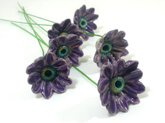 Purple and turquoise ceramic flowers - Ceramics By Orly  - 5