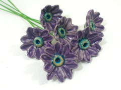 Purple and turquoise ceramic flowers - Ceramics By Orly  - 4