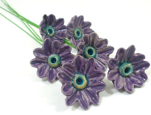Purple and turquoise ceramic flowers
