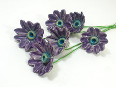 Purple and turquoise ceramic flowers - Ceramics By Orly  - 3