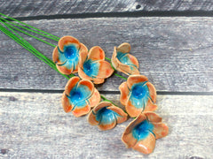 Tangerine and turquoise ceramic flowers - Ceramics By Orly  - 2