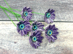 Purple and turquoise ceramic flowers - Ceramics By Orly  - 2