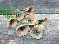 Pink and turquoise ceramic flowers - Ceramics By Orly  - 2