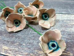 Pink and turquoise ceramic flowers - Ceramics By Orly  - 4