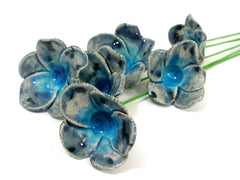 Blue and turquoise ceramic flowers - Ceramics By Orly  - 3