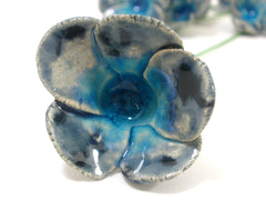 Blue and turquoise ceramic flowers - Ceramics By Orly  - 2