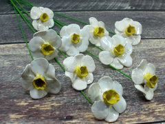 White and yellow Daffodil ceramic flowers - Ceramics By Orly  - 5