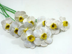 White and yellow Daffodil ceramic flowers - Ceramics By Orly  - 3