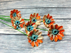 Orange and turquoise ceramic flowers - Ceramics By Orly  - 2