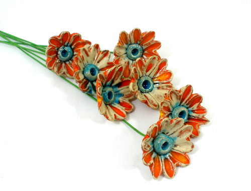 Orange and turquoise ceramic flowers - Ceramics By Orly  - 1