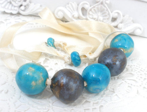 Beaded ceramic necklace in a color of your choice