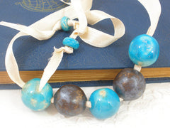 Beaded ceramic necklace in a color of your choice - Ceramics By Orly  - 2