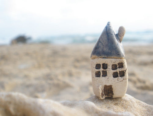 A tiny rustic ceramic beach cottage in a color of your choice