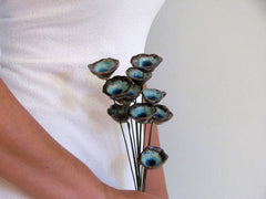 Bridal bouquet in brown and turquoise for your wedding day - Ceramics By Orly  - 5