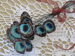 Bridal bouquet in brown and turquoise for your wedding day - Ceramics By Orly  - 4
