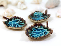 Brown and Aqua Ceramic Leaves - Ceramics By Orly  - 1