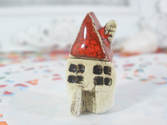 A tiny rustic ceramic beach cottage in a color of your choice - Ceramics By Orly  - 3
