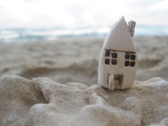 A tiny rustic ceramic beach cottage in a color of your choice - Ceramics By Orly  - 2