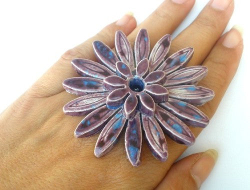 A huge ceramic flower ring - Ceramics By Orly  - 1
