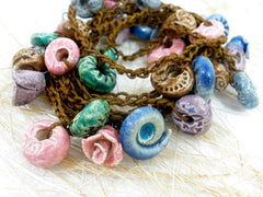 Crocheted ceramic beads bracelet or long necklace - Ceramics By Orly  - 4