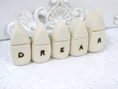 A set of tiny rustic ceramic miniature DREAM houses in colors of your choice - Ceramics By Orly  - 4