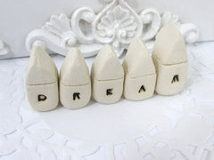 A set of tiny rustic ceramic miniature DREAM houses in colors of your choice - Ceramics By Orly  - 2