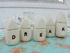 A set of tiny rustic ceramic miniature DREAM houses in colors of your choice - Ceramics By Orly  - 3