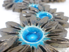Turquoise and brown ceramic flowers - Ceramics By Orly  - 4