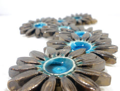 Turquoise and brown ceramic flowers - Ceramics By Orly  - 6