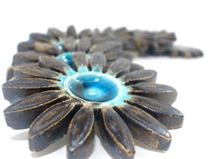 Turquoise and brown ceramic flowers - Ceramics By Orly  - 3