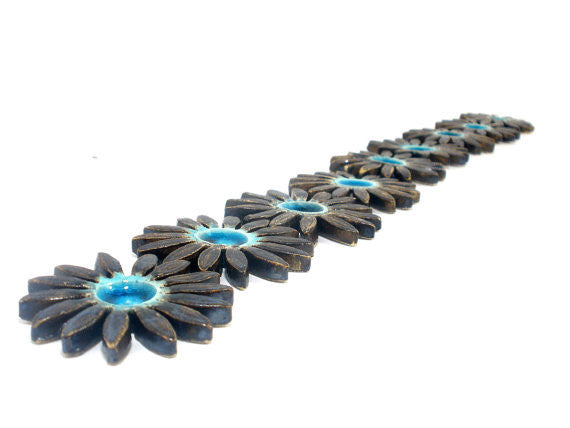 Turquoise and brown ceramic flowers - Ceramics By Orly  - 1