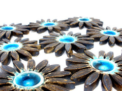 Turquoise and brown ceramic flowers - Ceramics By Orly  - 5