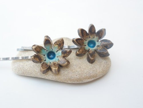 Jewelry Hair pins One of a kind turquoise and brown ceramic flowers hair pins - Ceramics By Orly  - 1