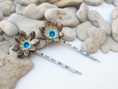 Jewelry Hair pins One of a kind turquoise and brown ceramic flowers hair pins - Ceramics By Orly  - 2