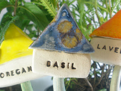 Ceramic Herbs and plant markers – Garden markers – Decorate your garden with colorful herb houses - Ceramics By Orly  - 3