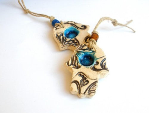 Ceramic Hamsa decoration – Beautiful handmade brown and turquoise Hamsa for Good Luck