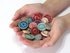 Ceramic heart cabochons favors - Ceramics By Orly  - 1