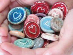 Ceramic heart cabochons favors - Ceramics By Orly  - 4
