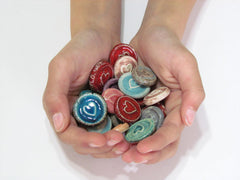 Ceramic heart cabochons favors - Ceramics By Orly  - 3