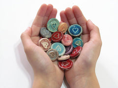 Ceramic heart cabochons favors - Ceramics By Orly  - 2