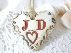 Customize initials heart favors for your special day - Ceramics By Orly  - 3